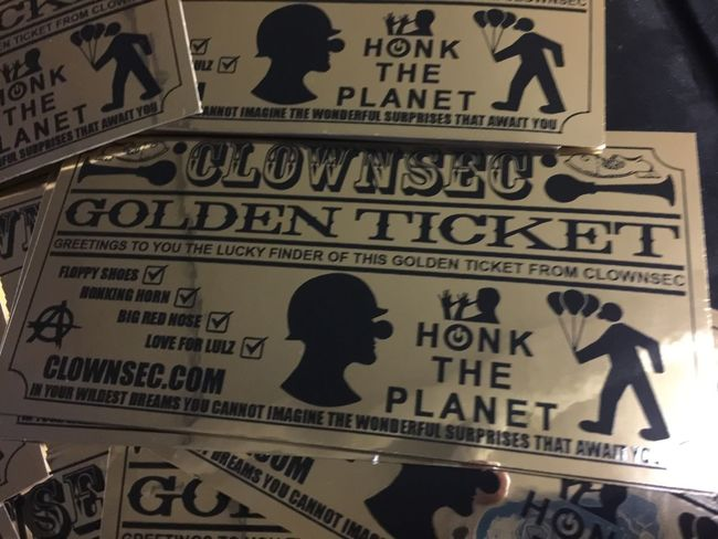 Clownsec golden ticket! Graffiti Stickerbomb Stickers Clownsec Sticker Art Street Art/Graffiti Circus Sticker Street Art Streetart Slaps  Clown Clowns