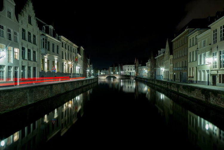 Canal In City At Night