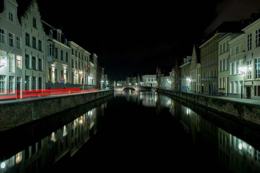 Night in the City Architecture Building Exterior Built Structure Canal City Illuminated Night No People Outdoors Reflection Sky Water Waterfront
