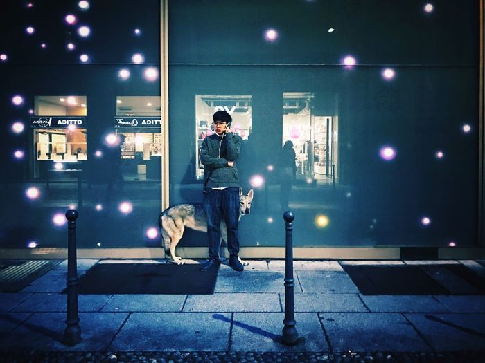 """""""I tend to think of myself as a one man wolf pack"""" // Milano Feb'17 // iP7 Full Length Night Illuminated One Person Young Adult Standing One Young Man Only Leisure Activity City One Man Only People Men Real People Only Men Adults Only Outdoors Adult IPhone 7 Candid Streetphotography Milano Milan Italy Wolf Adapted To The City"""