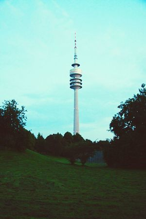 Munich TV tower München Munich Tv Tower Park Landscape Building Object Landmark Germany Green Lush View Dusk