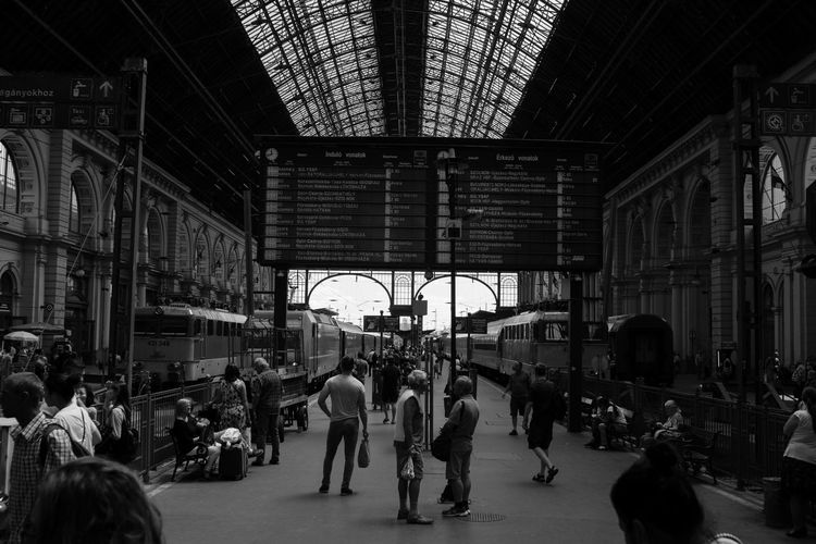 Keleti pályaudvar. Architecture Budapest Building Exterior Built Structure City Clock Crowd Indoors  Large Group Of People Let's Go. Together. People Railroad Station Real People Train Transportation Travel Destinations Your Ticket To Europe