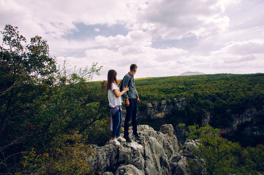Adventure Beauty In Nature Casual Clothing Cloud - Sky Couple Hiking Hill Love Nature Rock - Object Sky Travel Traveling Tree