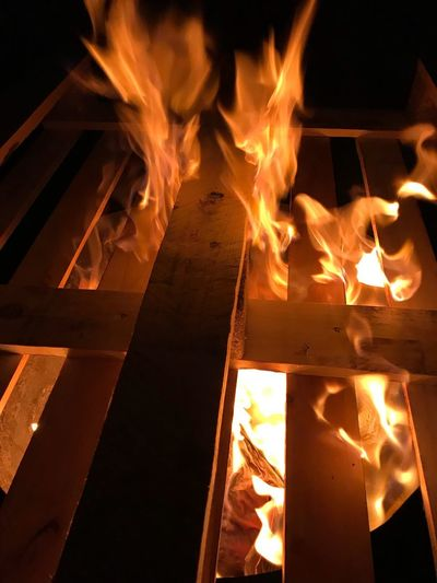 Fire Burning Flame Fire - Natural Phenomenon Heat - Temperature Night No People Orange Color Wood - Material Fireplace Outdoors Close-up Nature Firewood Wood
