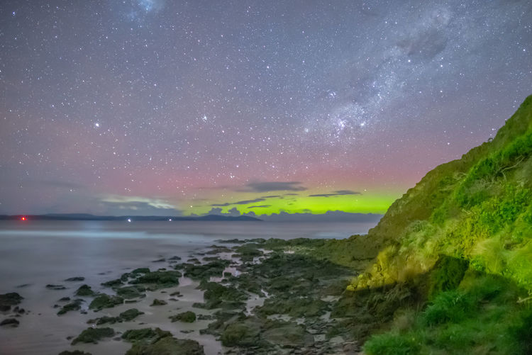 Aurora Australis over Carlton Geomagnetic Storm Geomagnetic Disturbance Kp-index Aurora Australis Tasmania Southern Lights Scenics - Nature Star - Space Night Water Beauty In Nature Sky Sea Astronomy Space Tranquil Scene Nature No People Idyllic Galaxy Beach Star Outdoors Horizon Over Water Milky Way