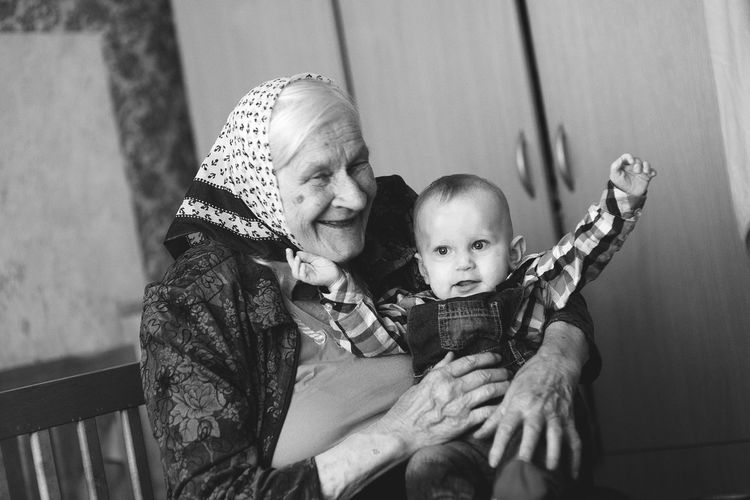 Grandmother with grandson at home