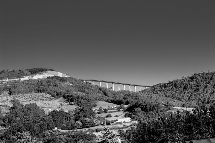 Black And White Bridge Civil Engineer Copy Space Countryside Day Forest Galicia, Spain Growth Hightway Hills Landscape Monochrome Mountains Nature Nature No People Outdoors Scenics Shapes And Forms Sky Traveling Trees
