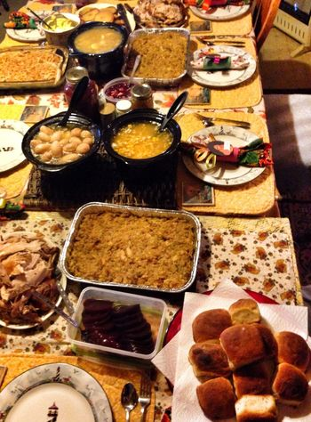 Three tables placed together....I couldn't get all the food in the picture and we still ended up using the bar for most. Im beyond stuffed and just want to sleep! Lol! But time for Thankgiving Bingo! lol! Then dessert! ?❤️ Happy Thanksgiving!! Let's Eat!