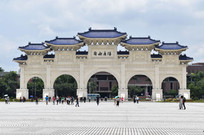 Untouch photo of Chiang Kai-shek memorial hall's freedom square main gate. Chiang Kai-shek Memorial Hall EyeEmNewHere Taiwan Tourist Attraction  Travel Photography Architecture Built Structure History Taipei Tourism Travel Blog Travel Bloggers Travel Destinations Zhongzheng