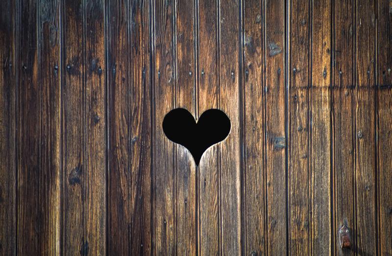 Close-up of heart shape on door