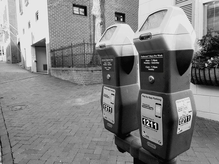 Brick Brick Wall Brick Building Brick Walkway Meter Parking Meter Parking Metal City Annapolis Annapolis Maryland Outdoors Cityscape Black And White Black & White