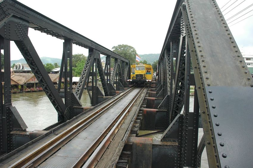 Bridge train cross river kwai Railroad Track Bridge - Man Made Structure Connection Transportation Rail Transportation Built Structure Train - Vehicle Railroad Bridge Public Transportation Day Outdoors Architecture Sky Water Steel Travel Tourism Kanchanaburi Color Metal History