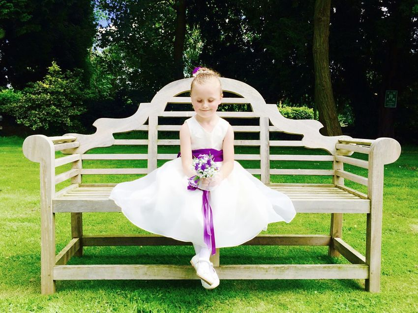 Wedding Summer Flowergirl Bench Greenary IPhoneography