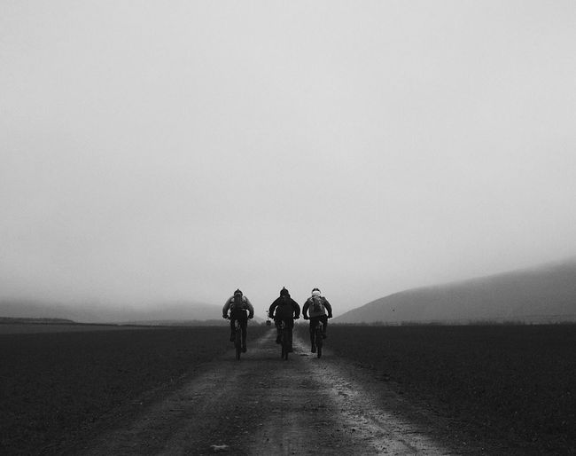 Rear view of men riding bicycles on road in foggy weather
