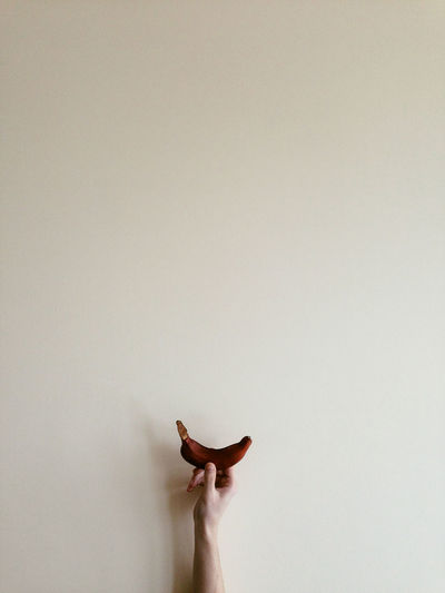 Person standing against white wall