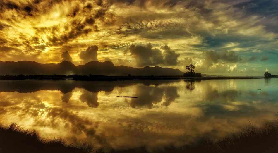Beauty In Nature Cloud - Sky Idyllic Lake Nature Nautical Vessel Orange Color Outdoors Reflection Scenics - Nature Silhouette Sky Standing Water Sunset Tranquil Scene Tranquility Transportation Water Waterfront