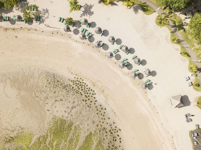 High angle view of fresh wet sand on beach
