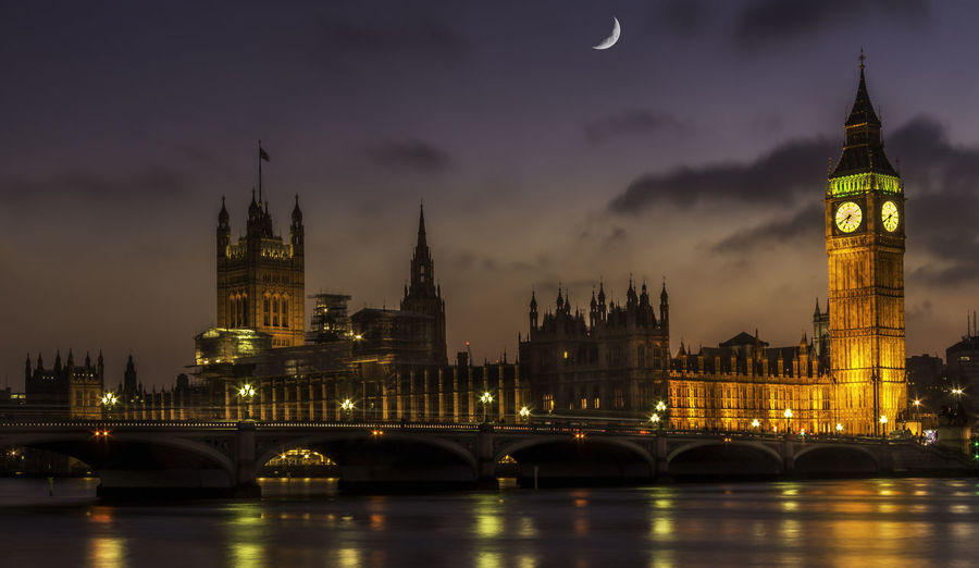 Scenic view of thames river by illuminated houses of parliament and westminster bridge against sky