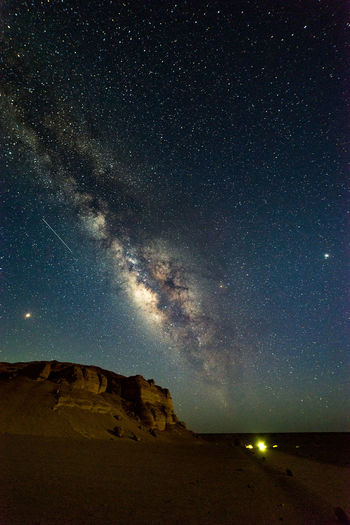 Majestic View Of Star Field Sky Over Desert