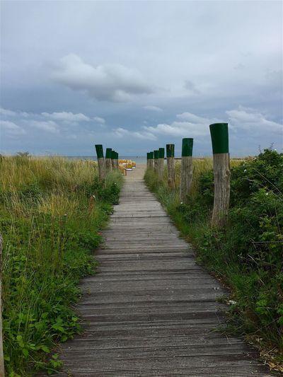 Footpath Leading Towards Trees Against Cloudy Sky