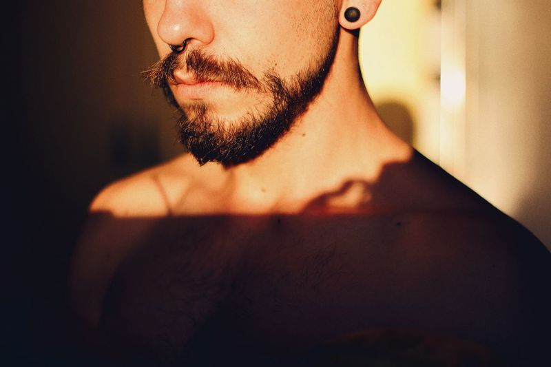 Selfish picture Beard Sunlight Sun Natural Shadow Light Man One Person Beard Real People Indoors  Shirtless Lifestyles This Is Masculinity Close-up Human Skin Young Adult Day People