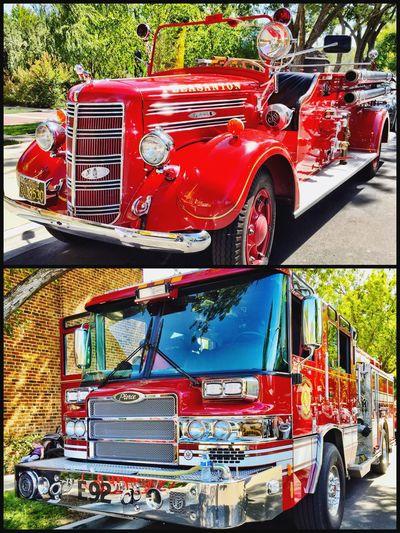 """""""Old & New"""" Firetruck Firetrucks Vintage Firetruck Fireengine Fire Engines Red Firedepartment Firefighters"""