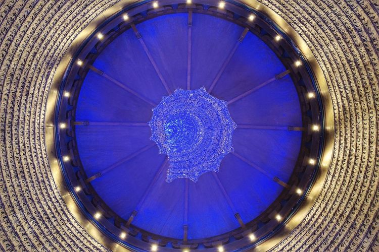 Blue Built Structure Ceiling Chandelier Circle Close-up Decoration Design Directly Below Geometric Shape Glass - Material Glowing Hanging Illuminated Indoors  Lighting Equipment Low Angle View Luxury Night No People Pattern Purple Shape