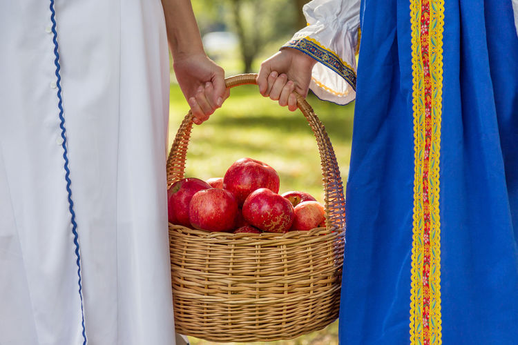 Mom and daughter carry a harvest of red apples in a wicker basket Traditional Agriculture Apple Bio Diet Eco Family Farm Gardener Rustic Vegetarian Apples Basket Food Fresh Garden Harvest Healthy Eating Healthy Food Organic Picking Red Apple Ripe Straw Vegan Juicy Organic Farm Plantation Harvesting Apple - Fruit