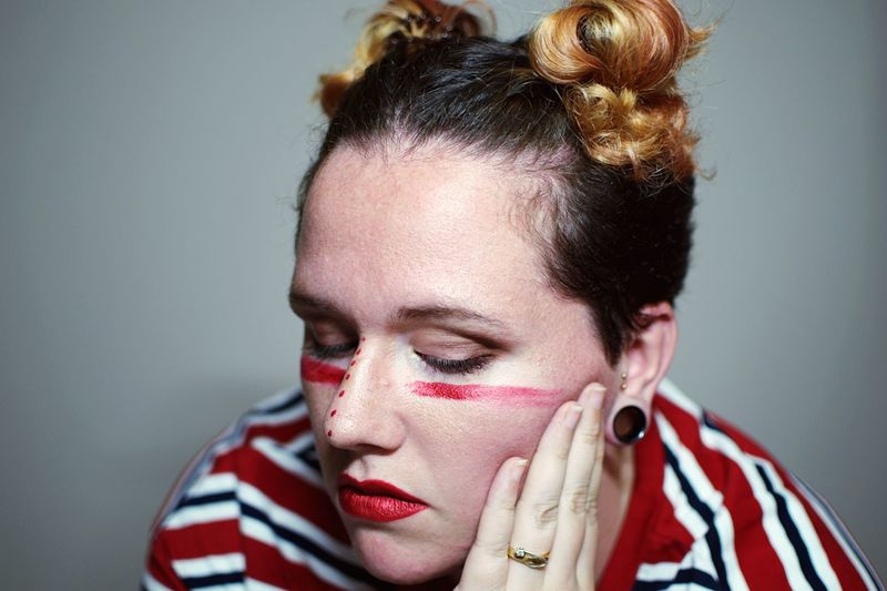 Wall art. Young Adult One Person Headshot Real People Young Women Fashion Face Paint Close-up Beautiful Woman Portrait Only Women Adult Day Adults Only People Red Lipstick One Young Woman Only Red Bright Colors The Week On EyeEm Love Yourself