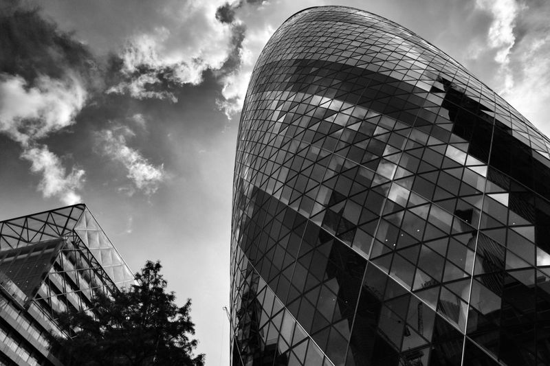 Low angle view of 30 st mary axe against sky