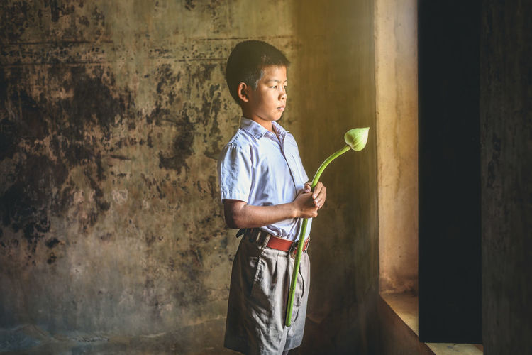 Boy holding flower bud while standing by window against wall