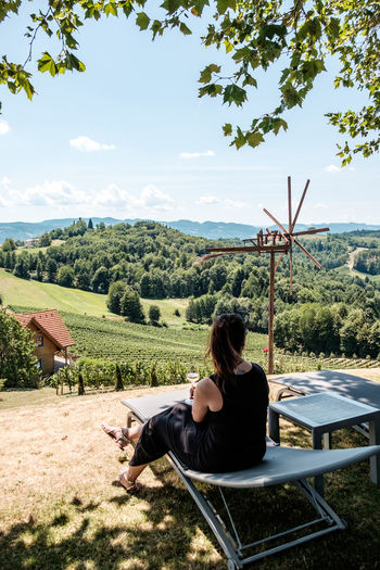 Austria / South Styrian Wine Road (Südsteirische Weinstrasse) Austria Beautiful Farmland Green Happiness Hills Vineyards  Woman Beauty In Nature Drinking Grapes Landscape Lush Nature One Person Outdoors Real People Sitting Summer Tree Vineyard Wine Wineglass Winetasting Young Adult