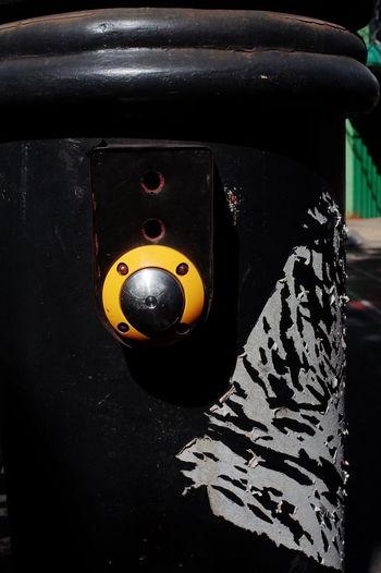 Close-up of camera on metal