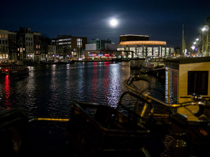 Night Water Illuminated Architecture Building Exterior Built Structure City Nautical Vessel Reflection Sky Nature No People Transportation Mode Of Transportation Canal Building Moon Outdoors Passenger Craft Nightlife