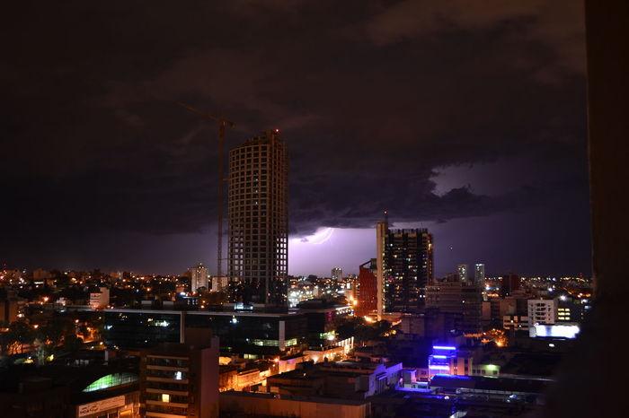 City Modern Night No People Outdoors Rayo Sky Storn Thunderbolt Tower