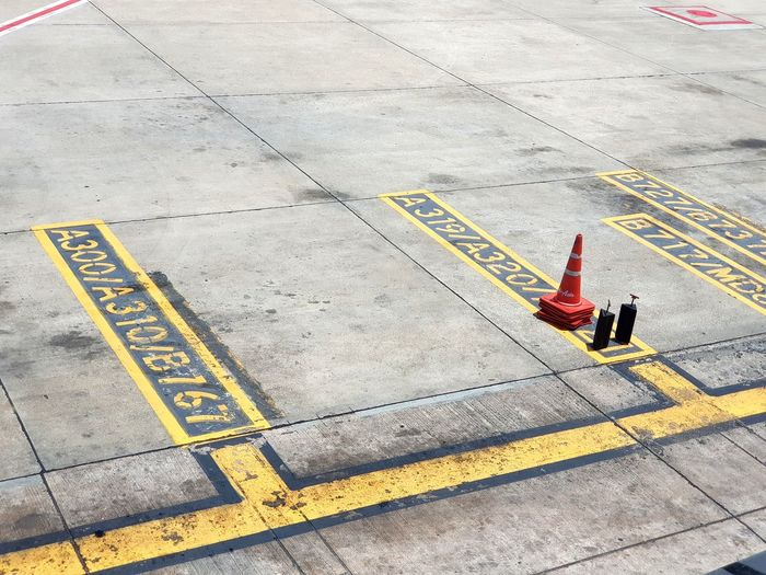 Plane Parking Park Bay Parking Bay High Angle View Traffic Cone Rules Road Construction No Parking Sign