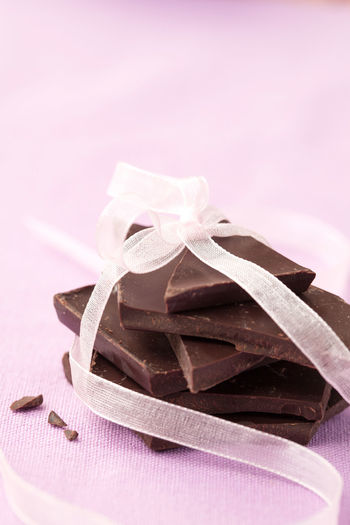 Close-up of chocolates on table