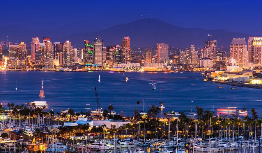 San Diego Cityscape. San Diego Night Time panorama. California San Diego USA Architecture Building Exterior Built Structure City Cityscape Clear Sky Illuminated Mountain Night No People Outdoors Scenics Sea Sky Skyscraper Travel Destinations Urban Skyline Water Waterfront