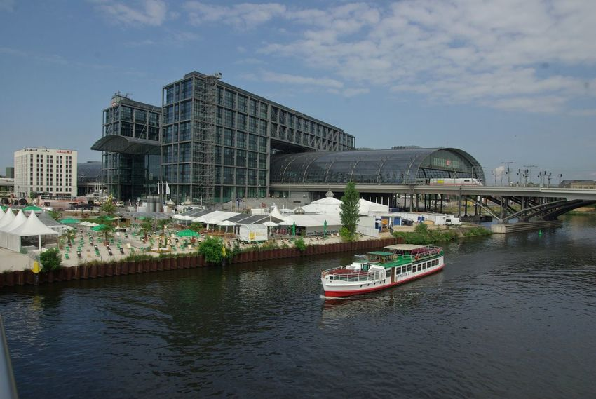 Bahnhof Berlin-Mitte Deutschland Architecture Bridge - Man Made Structure Building Exterior Built Structure City Cloud - Sky Day Germany Mode Of Transport Nature Nautical Vessel No People Outdoors River Sky Train Station Transportation Water Waterfront