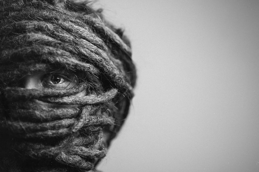 Motorrafhelm Dreadlocks Blackandwhite Creativity Portrait Headshot Body Part Human Face Human Body Part The Creative - 2018 EyeEm Awards Close-up Men Human Eye