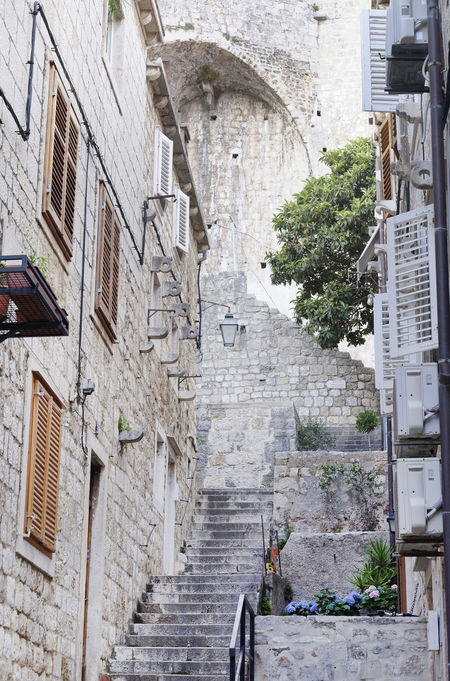 Architecture Architecture Building Exterior Built Structure City Day Kotor Montenegro Kotor Old Town Narrow Street No People Old City Outdoors Pot Flowers Shutterstock Stairs Street Steps Stone Stairs Tourism Tree Tree Vacation Windows