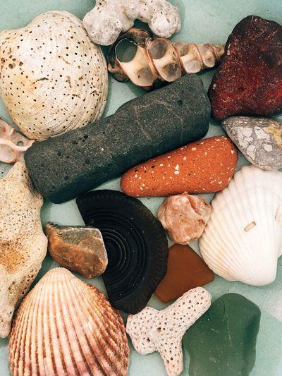 High angle view of pebbles on table