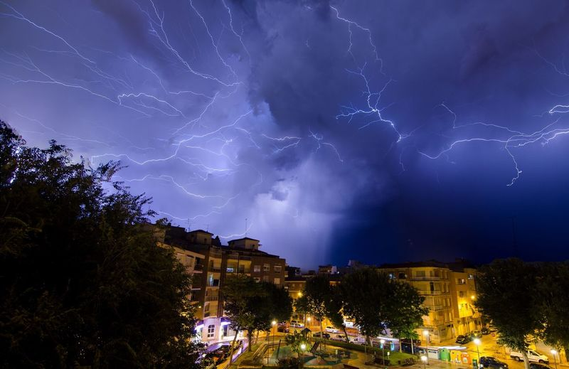 Night Building Exterior Architecture Sky Illuminated Tree Lightning Built Structure City Nature Cloud - Sky Power In Nature Beauty In Nature Storm