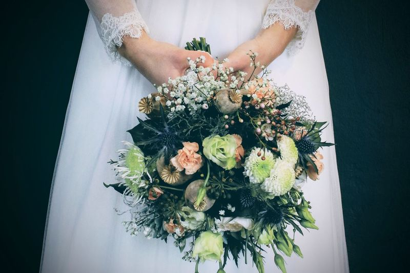 Flower Human Hand Real People One Person Midsection Lifestyles Freshness Women Men Leisure Activity Human Body Part Bouquet Indoors  Day Bride