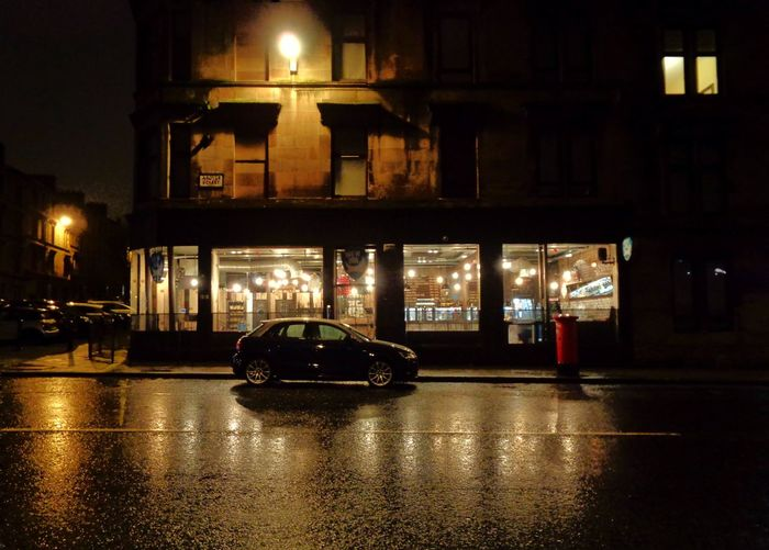 Transportation Illuminated Car Night Land Vehicle Mode Of Transport No People City Indoors  Architecture Tenements Going To Work Reflection Wet Streets Glasgow Bars