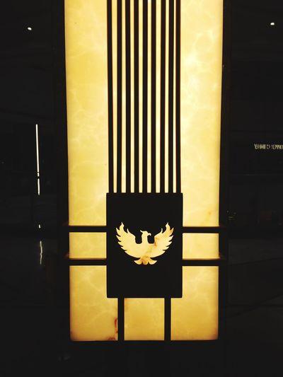 Pheonix Lamp Lampshade Lights And Shadows Logo Emblem  Yellow No People Close-up Indoors