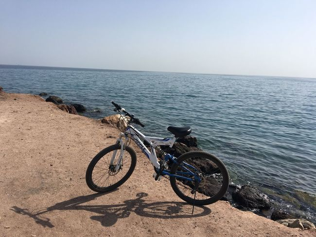 Bicycle Sea Transportation Clear Sky Horizon Over Water Mode Of Transport Water No People Nature Sky Stationary Day Outdoors Scenics Beauty In Nature