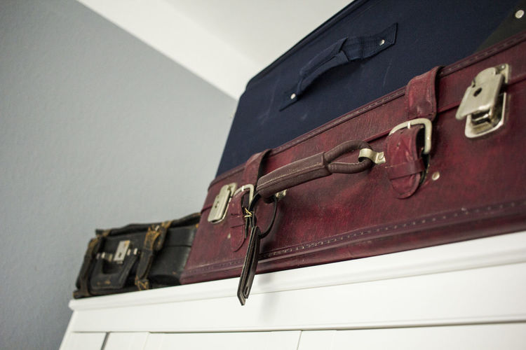 Home Home Interior In A Row Leather Low Angle View Luggage Retro Styled Suitcase Travel Vintage