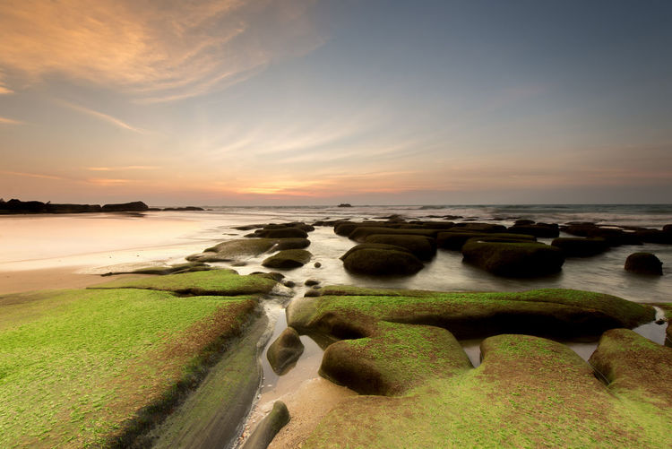 Sunset at the beach with natural coastal rocks. Sky Scenics - Nature Water Beauty In Nature Land Sea Tranquility Tranquil Scene Cloud - Sky Sunset Nature Horizon Beach No People Horizon Over Water Non-urban Scene Idyllic Plant Environment Outdoors