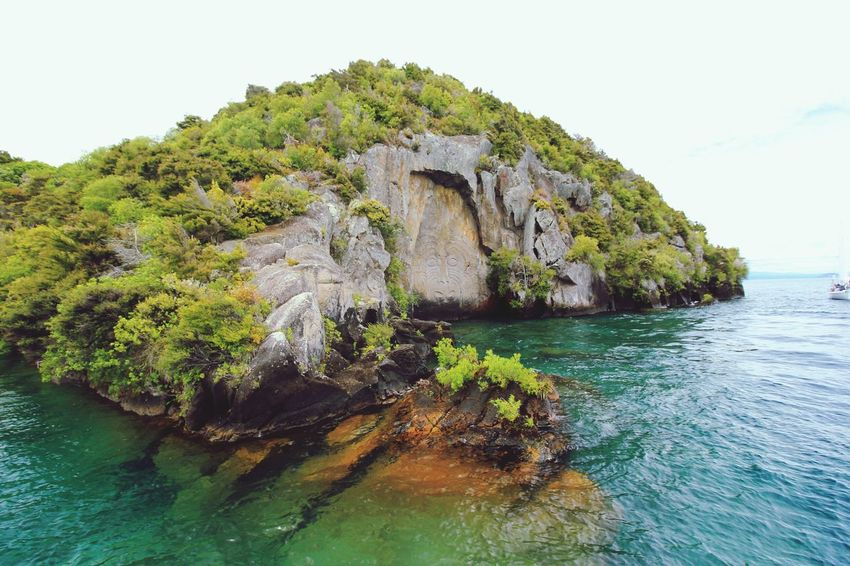 Clear Water New Zealand Lake Taupo Maori Carving Summer 2015 Glacier Water Nature